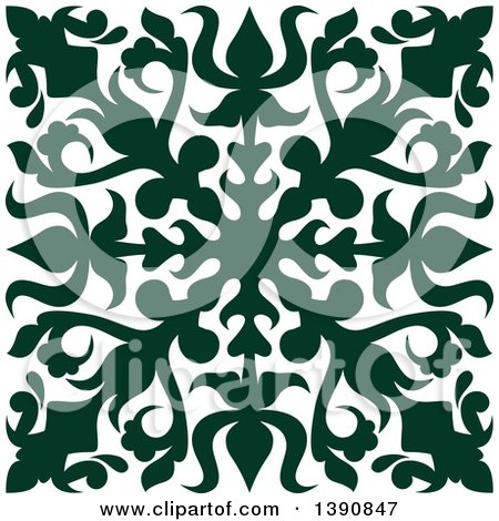 Clipart of a Green Square Vintage Ornate Flourish Design Element - Royalty Free Vector Illustration by Vector Tradition SM
