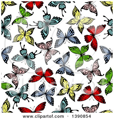 Clipart of a Seamless Background Pattern of Colorful Butterflies - Royalty Free Vector Illustration by Vector Tradition SM