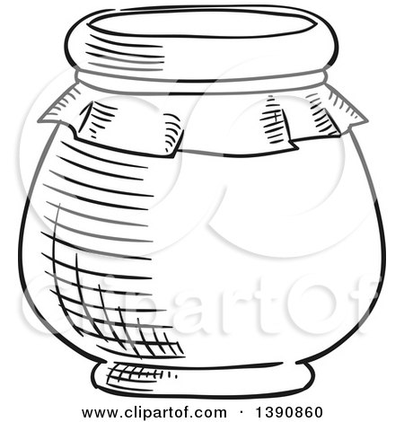 Clipart of a Black and White Sketched Jar - Royalty Free Vector Illustration by Vector Tradition SM