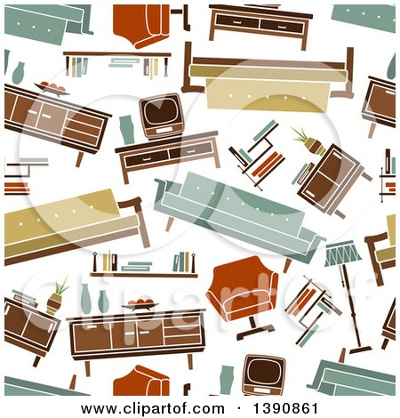 Clipart of a Seamless Background Pattern of Retro Furniture - Royalty Free Vector Illustration by Vector Tradition SM
