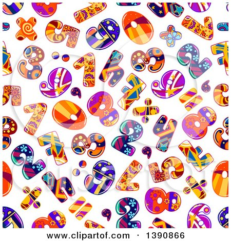 Clipart of a Seamless Background Pattern of Funky Numbers - Royalty Free Vector Illustration by Vector Tradition SM