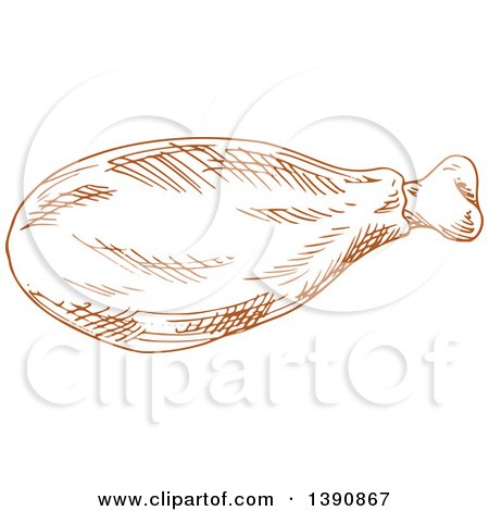 Clipart of a Brown Sketched Chicken Drumstick - Royalty Free Vector Illustration by Vector Tradition SM