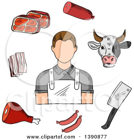 Clipart of a Sketched Butcher, Cow and Meats - Royalty Free Vector Illustration by Vector Tradition SM