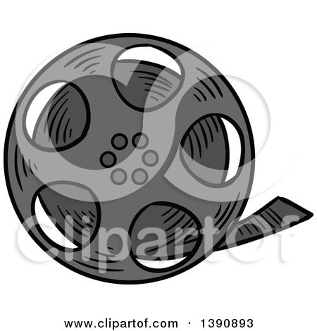 Clipart of a Sketched Film Reel - Royalty Free Vector Illustration ...