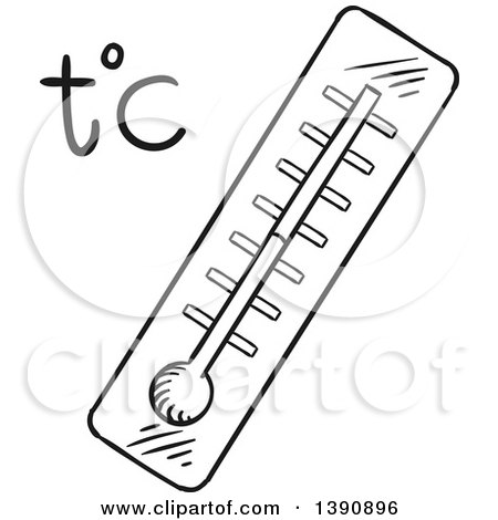 Clipart of a Sketched Dark Gray Thermometer - Royalty Free Vector Illustration by Vector Tradition SM