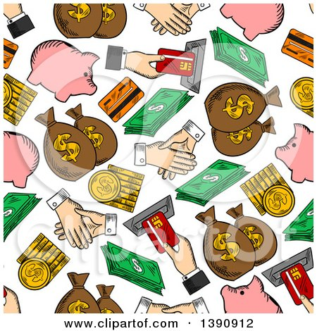 Clipart of a Seamless Background Pattern of Money Items - Royalty Free Vector Illustration by Vector Tradition SM