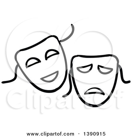 Clipart of Sketched Black and White Theater Masks - Royalty Free Vector Illustration by Vector Tradition SM