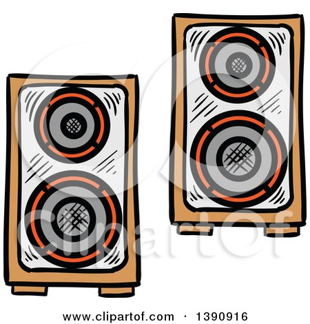Clipart of Sketched Music Speakers - Royalty Free Vector Illustration by Vector Tradition SM