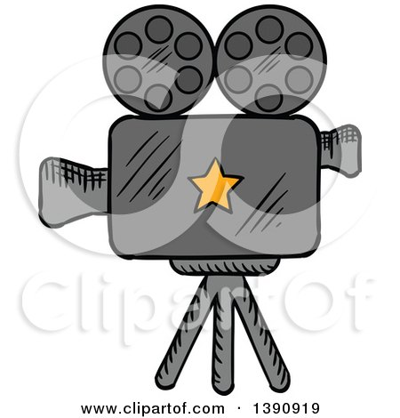 Clipart of a Sketched Movie Camera - Royalty Free Vector Illustration by Vector Tradition SM