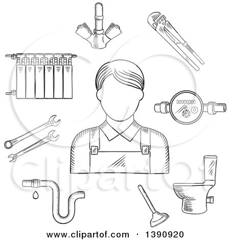 Clipart of a Sketched Gray Radiator of Heating System, Water Faucet and Water Meter, Toilet, Adjustable Wrench, Pipes System with Leak, Spanners, Plunger and Plumber Man - Royalty Free Vector Illustration by Vector Tradition SM