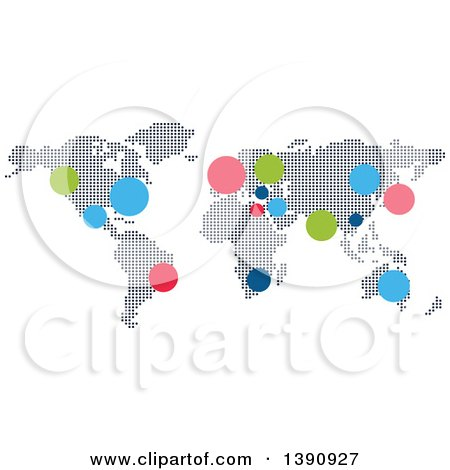 Clipart of a World Atlas Map with Colorful Dots - Royalty Free Vector Illustration by Vector Tradition SM