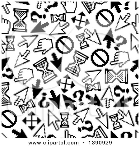 Clipart of a Seamless Background Pattern of Black and White Pixelated Cursors - Royalty Free Vector Illustration by Vector Tradition SM
