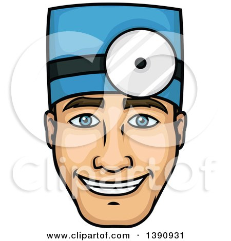 Clipart of a Cartoon Happy Male Surgeon Wearing a Headlamp - Royalty Free Vector Illustration by Vector Tradition SM
