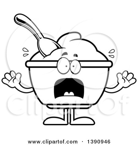 Cartoon Black and White Lineart Scared Yogurt Mascot Character Posters, Art Prints
