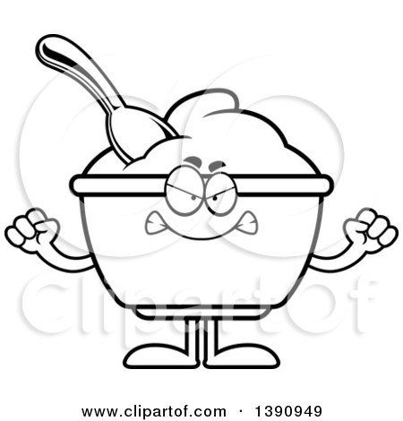 Cartoon Black and White Lineart Mad Yogurt Mascot Character Posters, Art Prints