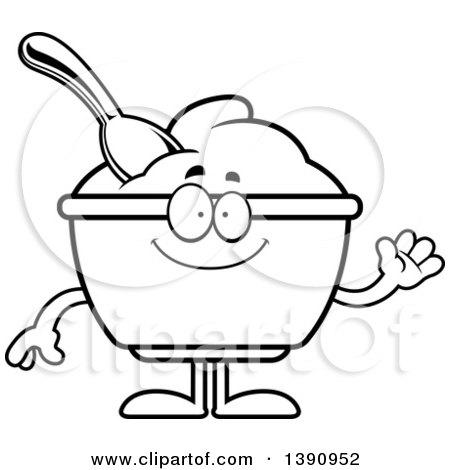 Cartoon Black and White Lineart Friendly Waving Yogurt Mascot Character Posters, Art Prints