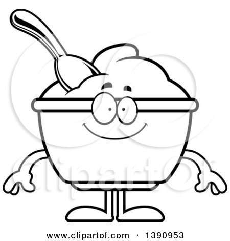 Cartoon Black and White Lineart Happy Yogurt Mascot Character Posters, Art Prints