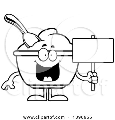 Cartoon Black and White Lineart Yogurt Mascot Character Holding a Blank Sign Posters, Art Prints