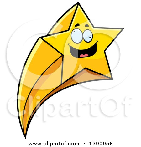 Clipart of a Cartoon Crazy Shooting Star Mascot Character - Royalty Free Vector Illustration by Cory Thoman