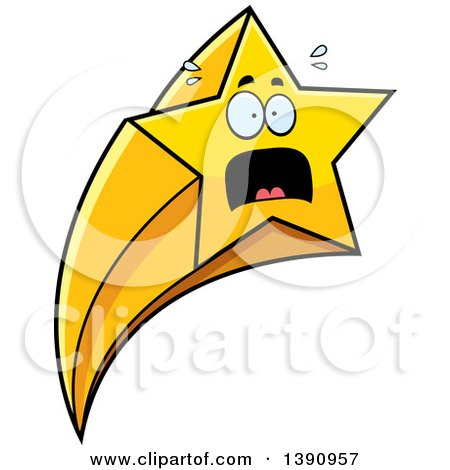 Clipart of a Cartoon Scared Shooting Star Mascot Character - Royalty Free Vector Illustration by Cory Thoman