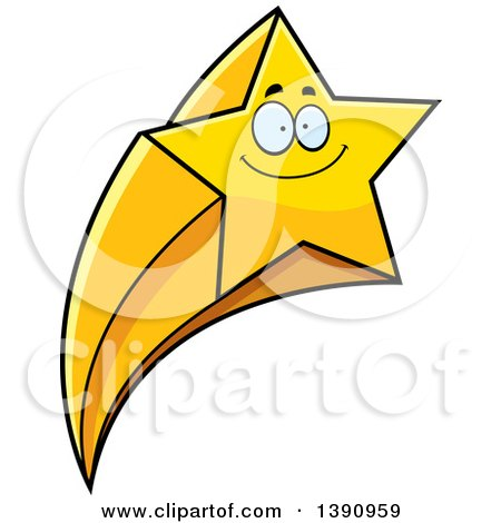 Clipart of a Cartoon Happy Smiling Shooting Star Mascot Character - Royalty Free Vector Illustration by Cory Thoman