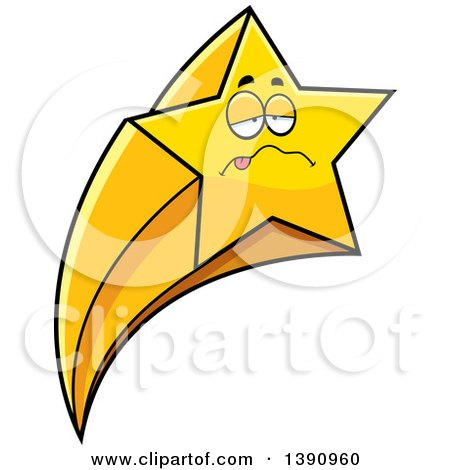 Clipart of a Cartoon Sick Shooting Star Mascot Character - Royalty Free Vector Illustration by Cory Thoman