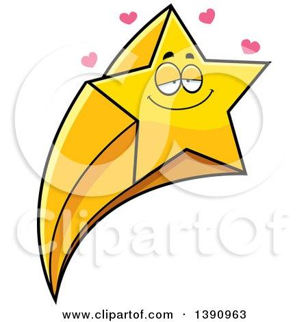 Clipart of a Cartoon Loving Shooting Star Mascot Character - Royalty Free Vector Illustration by Cory Thoman