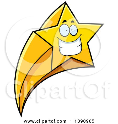 Clipart Of A Cartoon Grinning Happy Shooting Star Mascot Character Royalty Free Vector Illustration