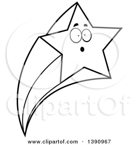 Clipart of a Cartoon Black and White Lineart Surprised Shooting Star Mascot Character - Royalty Free Vector Illustration by Cory Thoman