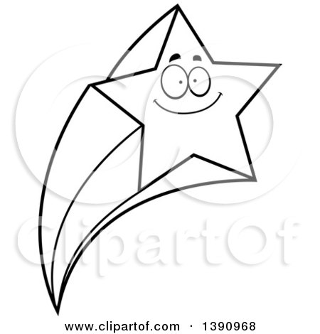 Clipart of a Cartoon Black and White Lineart Happy Smiling Shooting Star Mascot Character - Royalty Free Vector Illustration by Cory Thoman