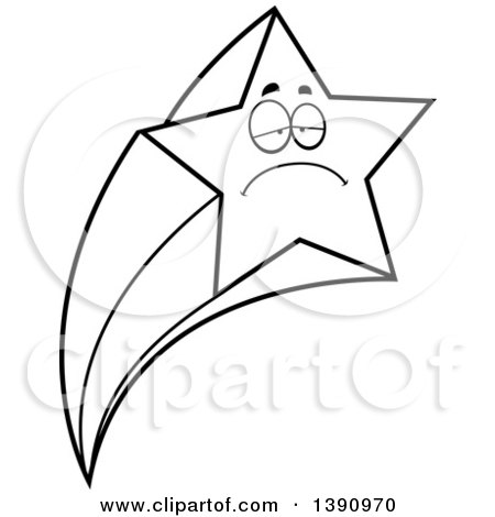 Clipart of a Cartoon Black and White Lineart Sad Shooting Star Mascot Character - Royalty Free Vector Illustration by Cory Thoman