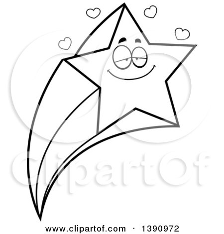 Clipart of a Cartoon Black and White Lineart Loving Shooting Star Mascot Character - Royalty Free Vector Illustration by Cory Thoman