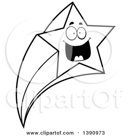 Clipart of a Cartoon Black and White Lineart Happy Shooting Star Mascot Character - Royalty Free Vector Illustration by Cory Thoman