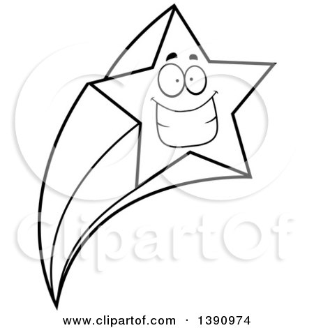 Clipart of a Cartoon Black and White Lineart Grinning Happy Shooting Star Mascot Character - Royalty Free Vector Illustration by Cory Thoman