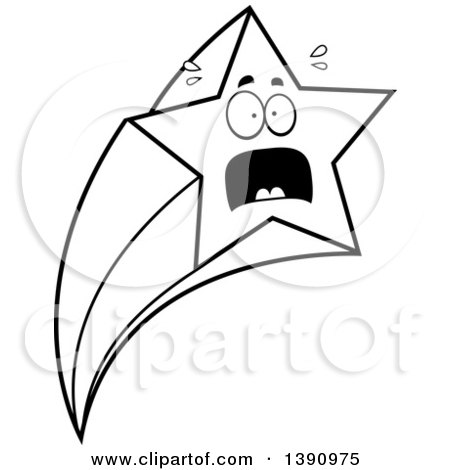 Clipart of a Cartoon Black and White Lineart Scared Shooting Star Mascot Character - Royalty Free Vector Illustration by Cory Thoman