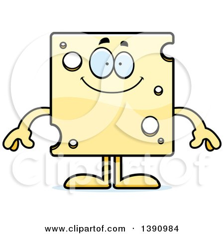 Clipart of a Cartoon Happy Swiss Cheese Mascot Character - Royalty Free Vector Illustration by Cory Thoman