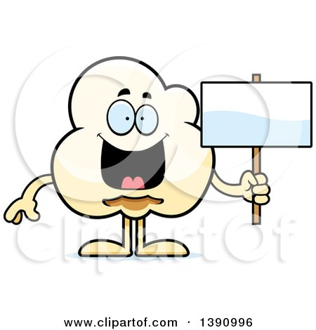 Cartoon Happy Popcorn Mascot Character Holding a Blank Sign Posters, Art Prints