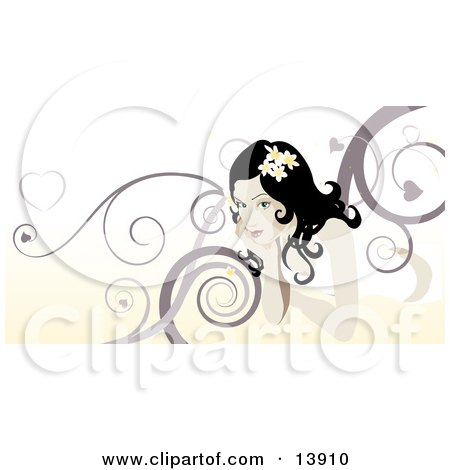 Beautiful Woman With Swirl Background Clipart Illustration by AtStockIllustration