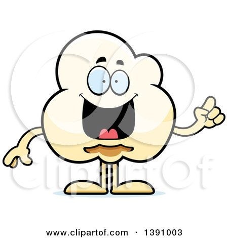 Clipart of a Cartoon Smart Popcorn Mascot Character with an Idea - Royalty Free Vector Illustration by Cory Thoman