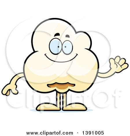 Cartoon Friendly Waving Popcorn Mascot Character Posters, Art Prints