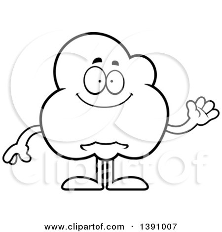Cartoon Black and White Lineart Friendly Waving Popcorn Mascot Character Posters, Art Prints