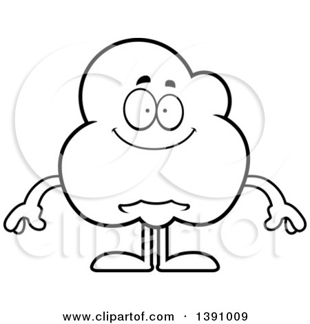 Cartoon Black and White Lineart Happy Popcorn Mascot Character Posters, Art Prints