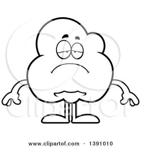 Cartoon Black and White Lineart Depressed Popcorn Mascot Character Posters, Art Prints