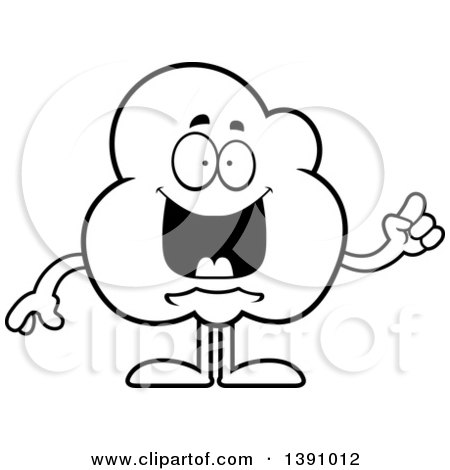 Cartoon Black and White Lineart Smart Popcorn Mascot Character with an Idea Posters, Art Prints