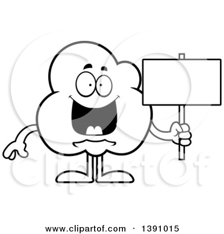 Cartoon Black and White Lineart Happy Popcorn Mascot Character Holding a Blank Sign Posters, Art Prints