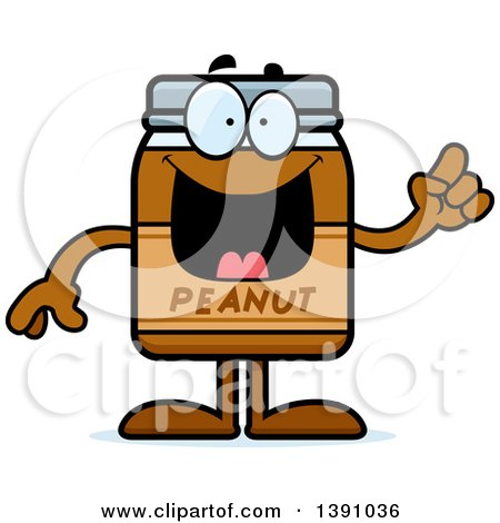Clipart of a Cartoon Peanut Butter Jar Mascot Character with an Idea - Royalty Free Vector Illustration by Cory Thoman