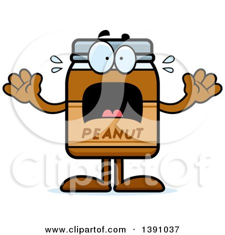 Clipart of a Cartoon Scared Peanut Butter Jar Mascot Character - Royalty Free Vector Illustration by Cory Thoman
