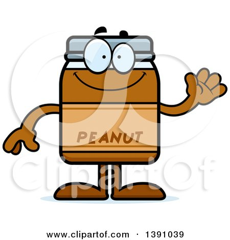 Clipart of a Cartoon Friendly Waving Peanut Butter Jar Mascot Character - Royalty Free Vector Illustration by Cory Thoman