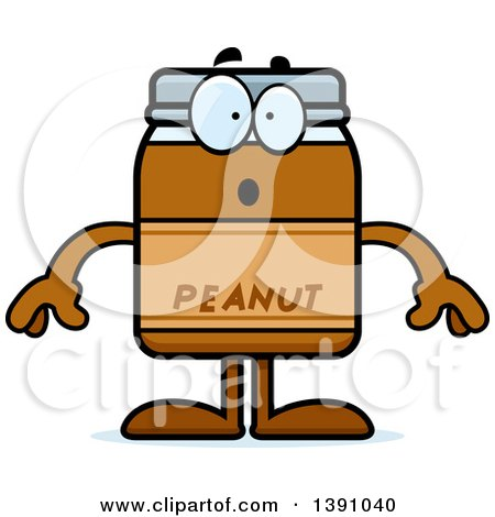 Clipart of a Cartoon Surprised Peanut Butter Jar Mascot Character - Royalty Free Vector Illustration by Cory Thoman