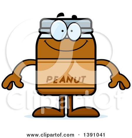 Clipart of a Cartoon Happy Peanut Butter Jar Mascot Character - Royalty Free Vector Illustration by Cory Thoman